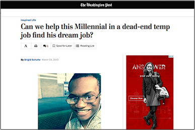 Can we help this Millennial in a dead-end temp job find his dream job? the washington post
