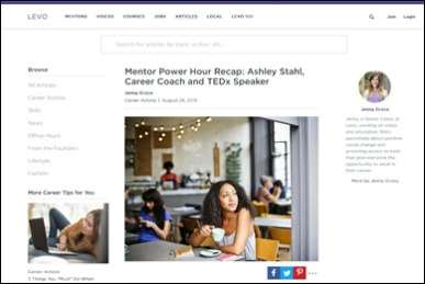 Mentor Power Hour Recap: Ashley Stahl, Career Coach and TEDx Speaker